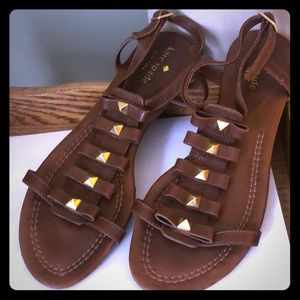 Kate Spade ♠️ Gladiator Flat Sandals Bows and Gold